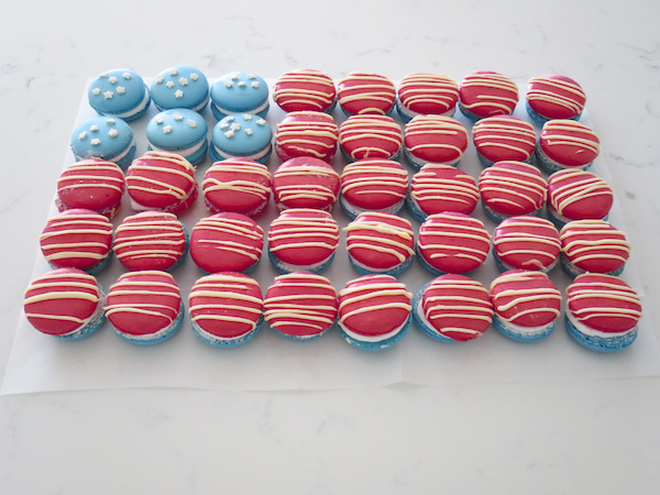Mint Marshmallow Macarons 4th of July