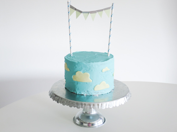 Lemon Blueberry & White Chocolate Cake with Cloudy sky design and DIY Pennant Cake Topper