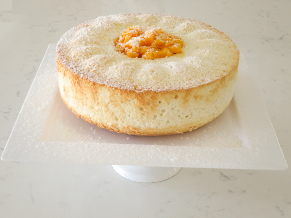Angel Food Bundt Cake with Mango & Coconut