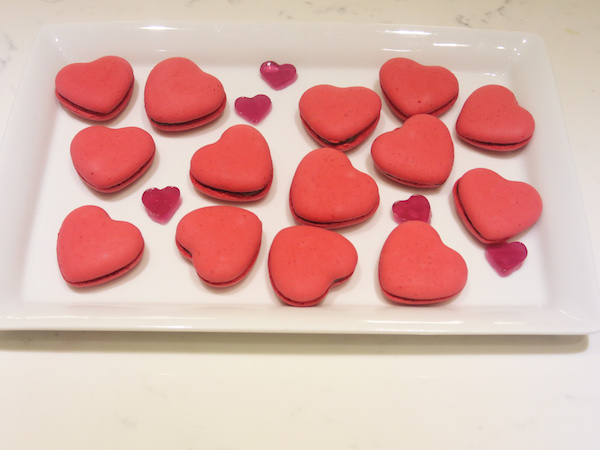 Raspberry & Milk Chocolate Heart Macarons