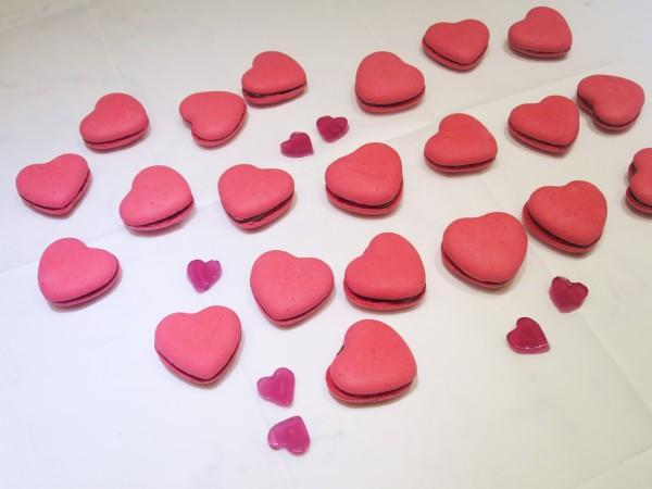 Raspberry & Milk Chocolate Heart Macarons