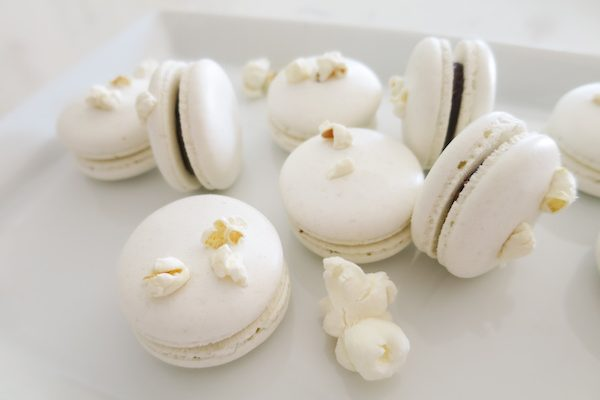 White Popcorn Chocolate Macarons