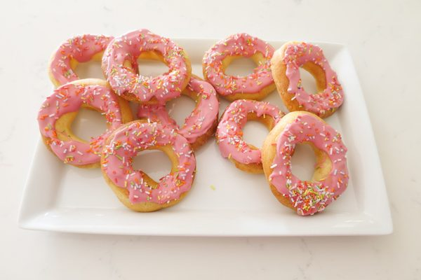 Choux Pastry Doughnuts with Pink White Chocolate Glaze