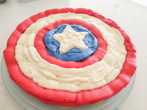 Vanilla Butterscotch Mini Cupcakes Captain America Shield Cake