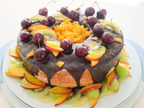Coconut Angel Food Fruit Cake