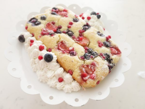 Blonde Brownies with Berries