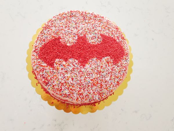 Vanilla Strawberry Sprinkles Cake