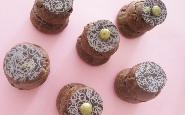 All chocolate 'religieuese' choux pastries