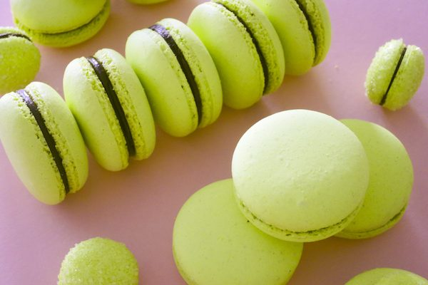 Kaffir Lime and Dark Chocolate Macarons