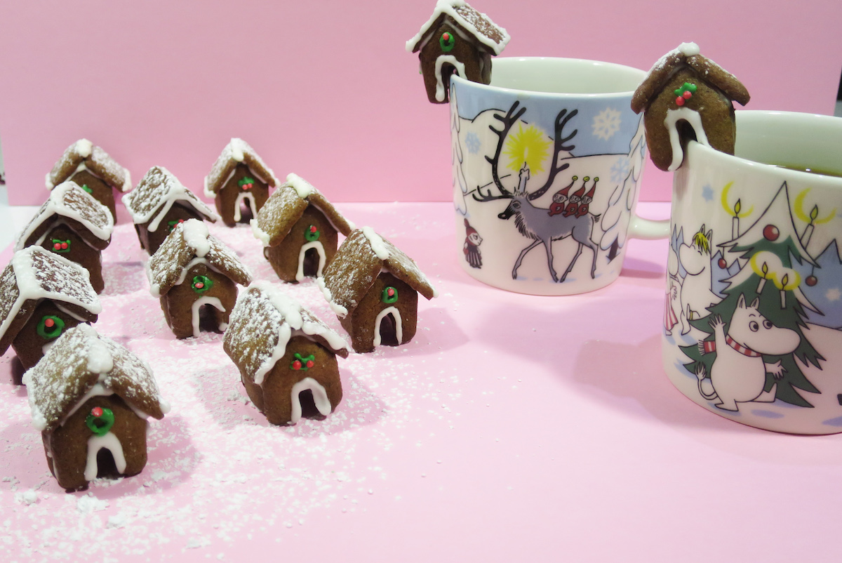 Gingerbread House Mug Toppers Baking In Pink